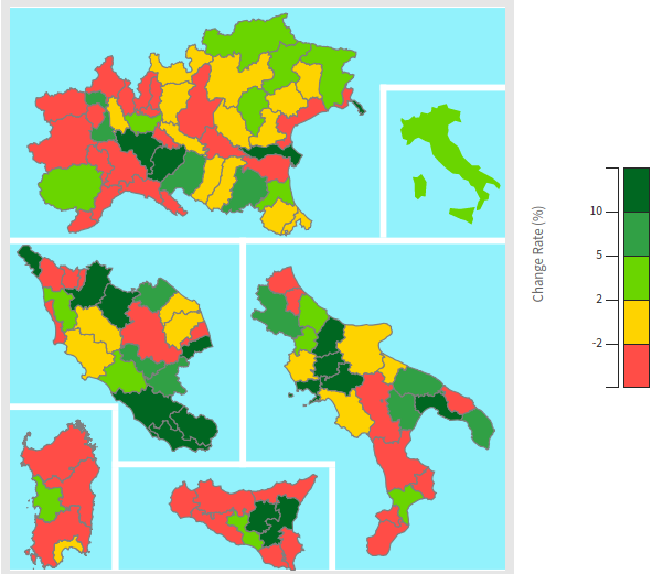 Exports from the Italian provinces: Y-o-Y % changes for year 2019